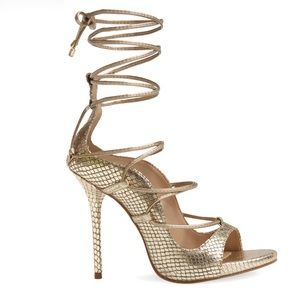 """Jessica Simpson """"Roxie""""  gold metallic caged shoes"""